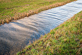 Ditch with recently mowed grass on the shore on a sunny day in the Dutch winter season.