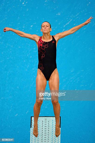Ditte Kotzian of Germany dives in the Women's 3m Springboard Preliminary held at the National Aquatics Centre during Day 7 of the Beijing 2008...