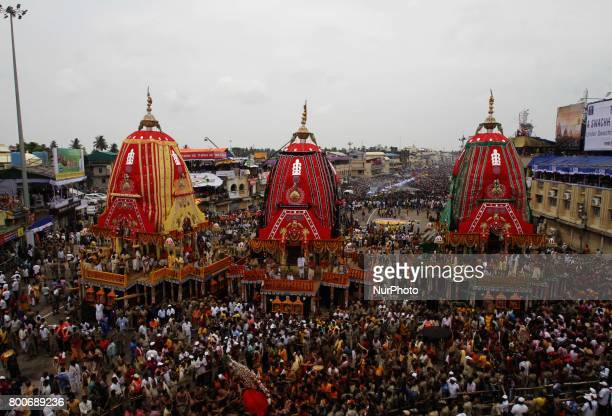 Ditties of Shree Jagannath templs comes out from the temple in the grand procession to ride chariots on the occassion of Shree Jagannath temple's...