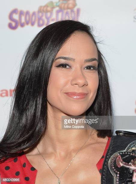 Diva AJ Lee attends the 'Scooby Doo WrestleMania Mystery' New York Premiere at Tribeca Cinemas on March 22 2014 in New York City