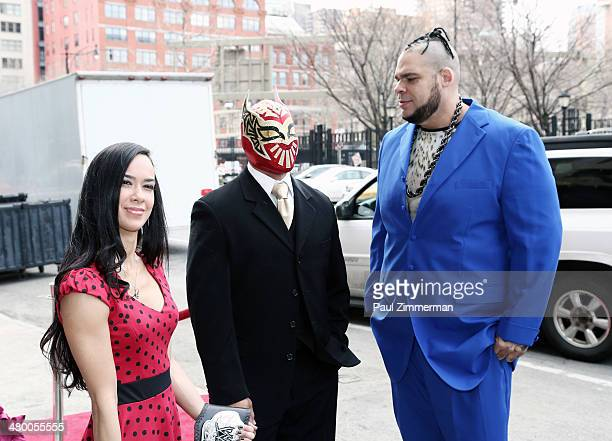 Diva AJ Lee Sin Cara and Brodus Clay attend the 'Scooby Doo WrestleMania Mystery' New York Premiere at Tribeca Cinemas on March 22 2014 in New York...