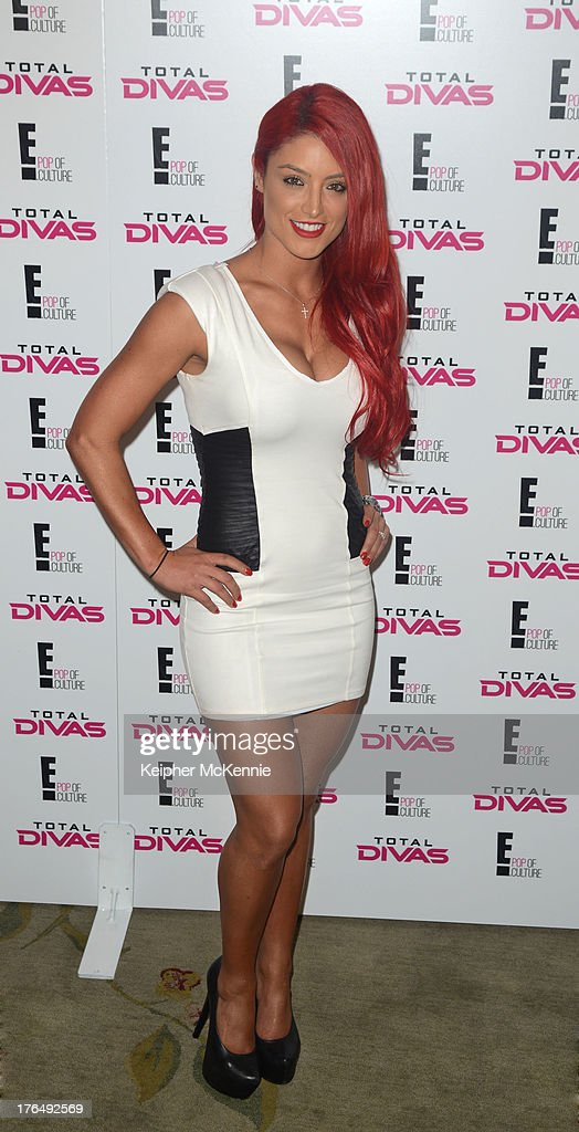Diva Eva Marie arrives to the WWE SummerSlam Press Conference at Beverly Hills Hotel on August 13, 2013 in Beverly Hills, California.