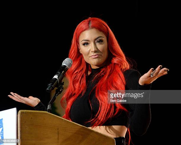 WWE diva Eva Marie speaks during the WWE Facebook Dosomethingorg and GLAAD AntiBullying Event at Kips Bay Boys Girls Club on August 20 2015 in New...