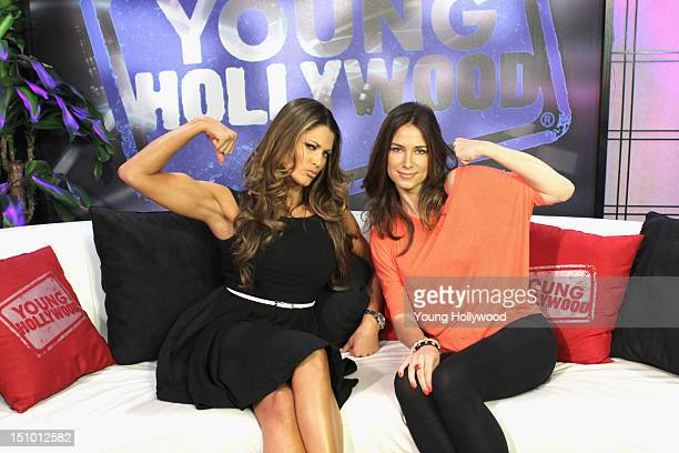WWE Diva Eve Torres and host Nikki Novak at the Young Hollywood Studio on August 30 2012 in Los Angeles California