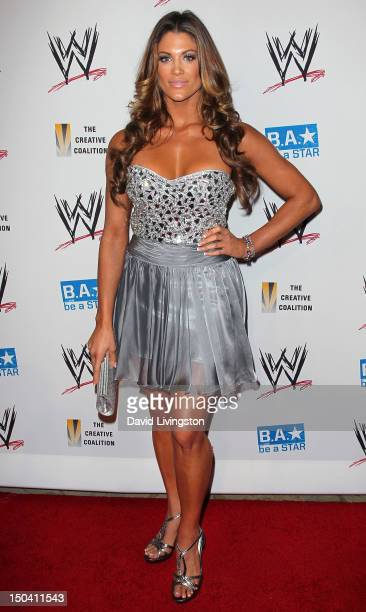 Diva Eve Torres attends the WWE and The Creative Coalition's SummerSlam Kickoff Party at the Beverly Hills Hotel on August 16 2012 in Beverly Hills...