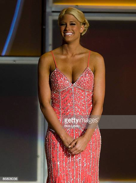 Diva Kelly Kelly attends the 25th Anniversary of WrestleMania's WWE Hall of Fame at the Toyota Center on April 4 2009 in Houston Texas