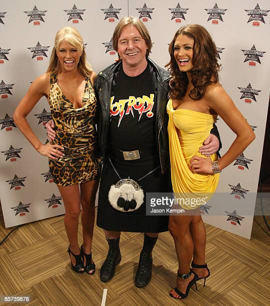 Diva Kelly Kelly 'Rowdy' Roddy Piper and WWE Diva Eve attend the WrestleMania 25th anniversary press conference at the Hard Rock Caf� on March 31...