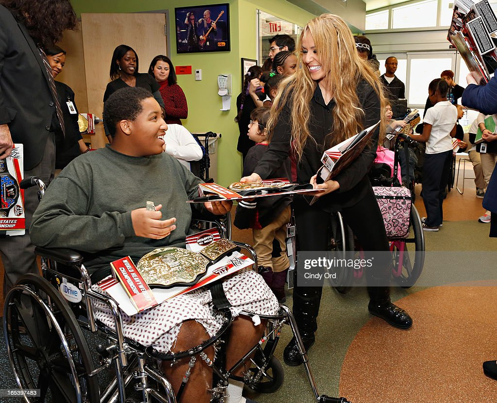 WWE Diva Layla El visits with patients at St. Mary's Hospital For Children on April 3, 2013 in New York City.