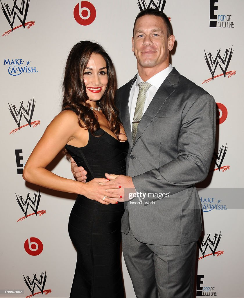 Diva Nikki Bella and wrestler <a gi-track='captionPersonalityLinkClicked' href=/galleries/search?phrase=John+Cena&family=editorial&specificpeople=644116 ng-click='$event.stopPropagation()'>John Cena</a> attend the WWE SummerSlam VIP party at Beverly Hills Hotel on August 15, 2013 in Beverly Hills, California.
