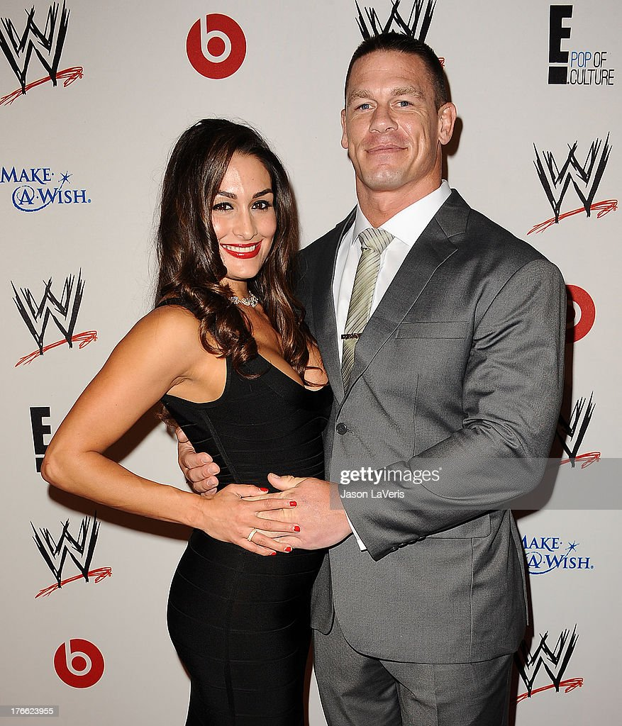 Diva Nikki Bella and wrestler John Cena attend the WWE SummerSlam VIP party at Beverly Hills Hotel on August 15, 2013 in Beverly Hills, California.