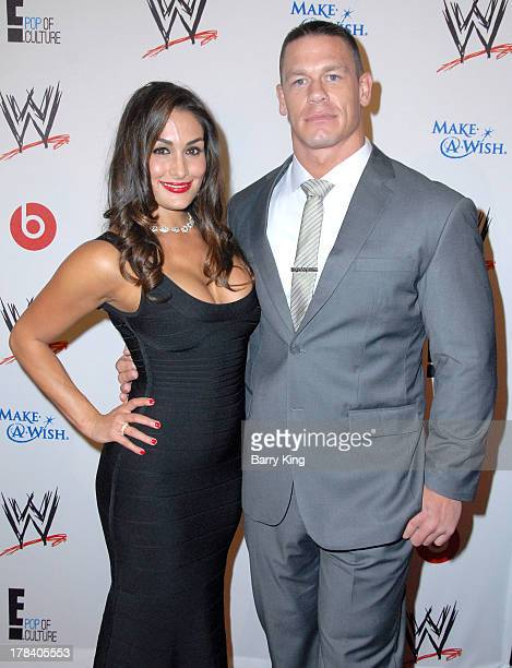 Diva Nikki Bella and WWE Professional Wrestler/actor John Cena attend the WWE SummerSlam VIP party on August 15 2013 at the Beverly Hills Hotel in...