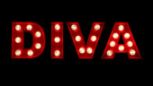 .3D rendering of the word Diva written in glowing letters.