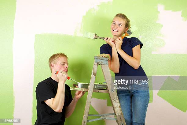 Diva Sister to Big Brother Painting a Room Green