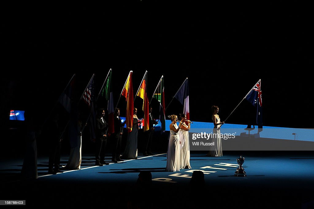 Divalicious sing the National Anthem at the opening ceremony during day one of the Hopman Cup at Perth Arena on December 29, 2012 in Perth, Australia.