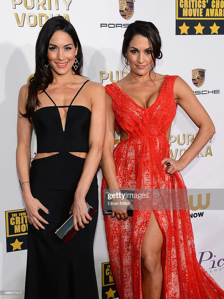 WWE divas Brie Bella and Nikki Bella attend the 19th Annual Critics' Choice Movie Awards at Barker Hangar on January 16 2014 in Santa Monica...