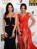 WWE divas Brie Bella and Nikki Bella attend the 19th Annual Critics' Choice Movie Awards at Barker Hangar on January 16 2014 in Santa Monica...
