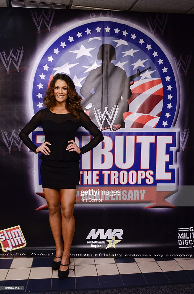 WWE Dive <a gi-track='captionPersonalityLinkClicked' href=/galleries/search?phrase=Eve+Torres&family=editorial&specificpeople=2484916 ng-click='$event.stopPropagation()'>Eve Torres</a> poses for a photo during the 10th anniversary of WWE Tribute to the Troops at Norfolk Scope Arena on December 9, 2012 in Norfolk, Virginia.