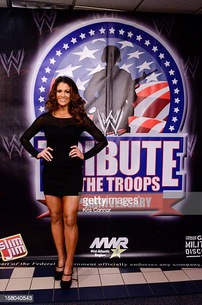 Dive Eve Torres poses for a photo during the 10th anniversary of WWE Tribute to the Troops at Norfolk Scope Arena on December 9 2012 in Norfolk...