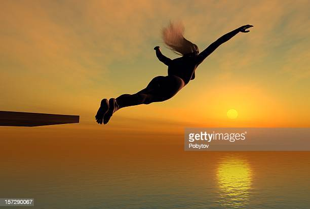 dive in sunset