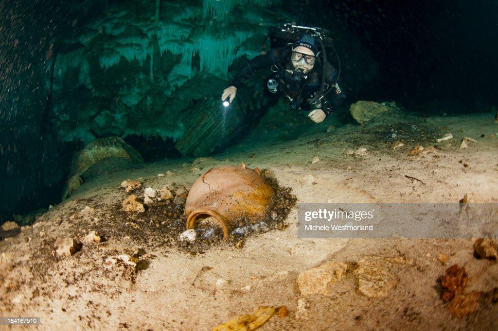 Diver and Mayan Remains
