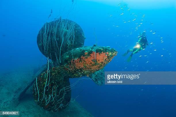 Diver at Propeller of HIJMS Nagato Battleship Marshall Islands Bikini Atoll Micronesia Pacific Ocean