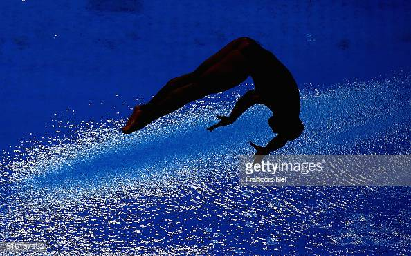 A diver competes in the Men's 3m Synchro Springboard Final during day one of the FINA/NVC Diving World Series 2016 at the Hamdan Sports Complexon...