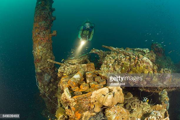 Diver discover armed Munition from II World War at Japanese Warship Helmet Wreck Micronesia Palau
