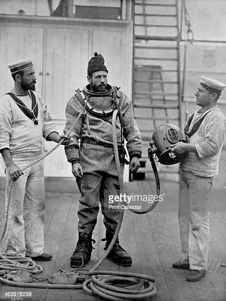 A diver from the battleship HMS 'Camperdown' in his diver's dress 1896 A print from The Navy and Army Illustrated 1st May 1896