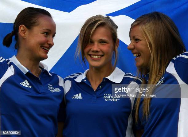 Diver Grace Reid with badminton player Susan Egelstaff and hockey player Kareena Marshall after being announced in the Scotland team for the...