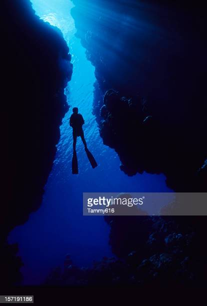 Diver In Cave Opening