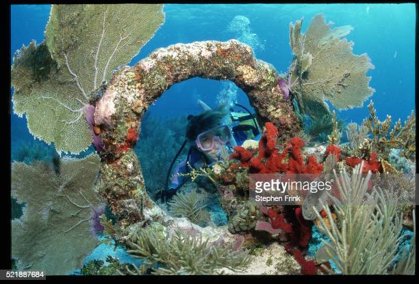 Diver Looking Through Spanish Anchor