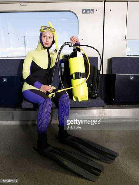 Diver on train