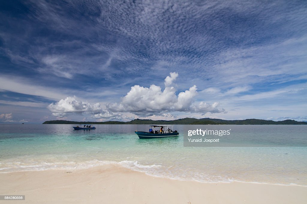 Diver Sailing with Boat to Dive Spot and Beautiful Beach