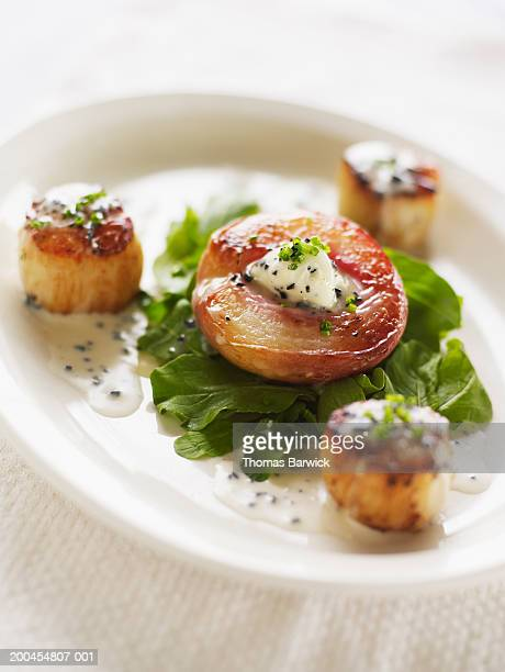 Diver scallops with roasted white peach and arugula salad