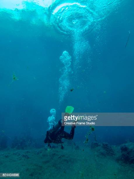 Diver seen from behind while exploring