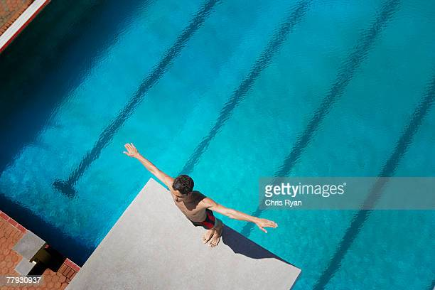 Diver standing on a diving board
