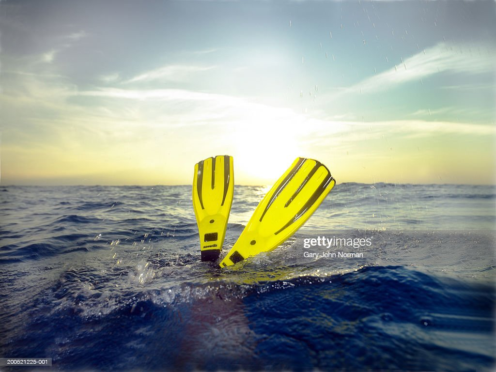 Diver wearing fins, sunset, low section