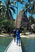 Divers Carrying Equipment to Resort in Fiji