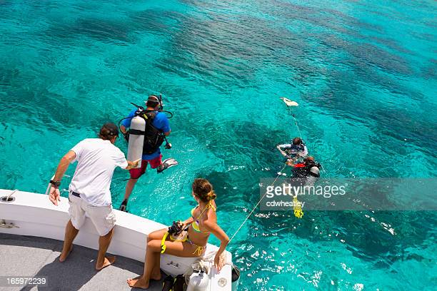 divers getting ready for a diving excursion in the Caribbean
