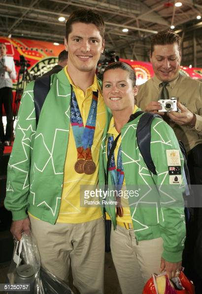 Divers husband and wife Robert Newbery and Chantelle during the Australian Olympic team homecoming welcome at the Qantas Jetbase September 1 2004 in...