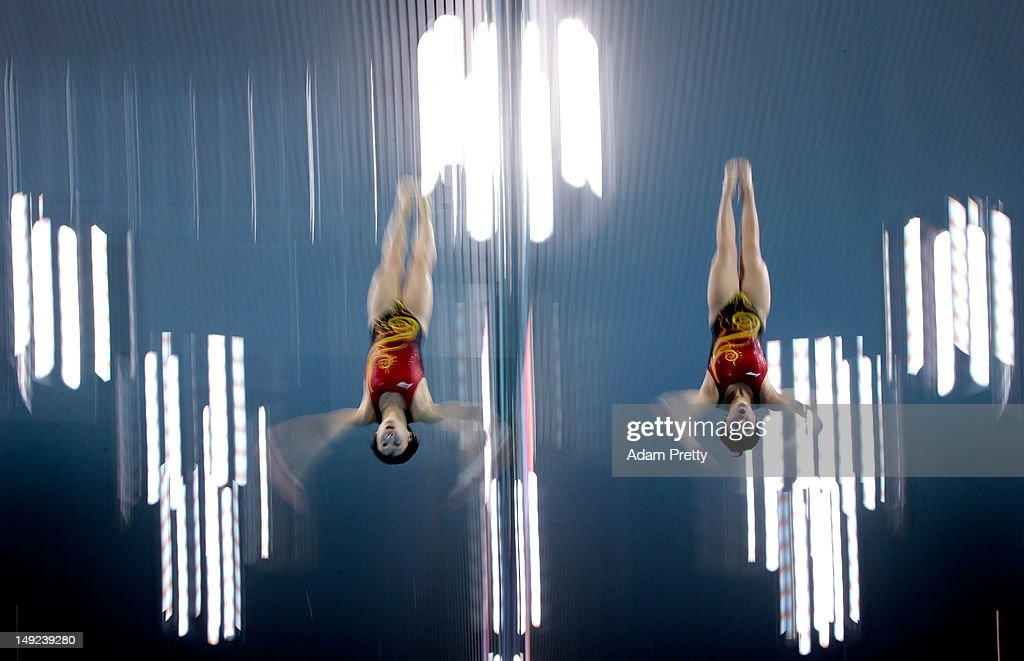 Divers Ruoling Chen and Hao Wang of People's Republic of China practice synchronized diving during a training session ahead of the London Olympic...