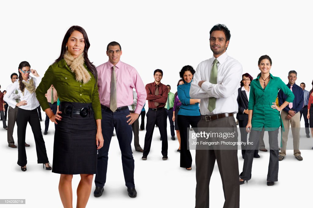 Diverse business people standing together
