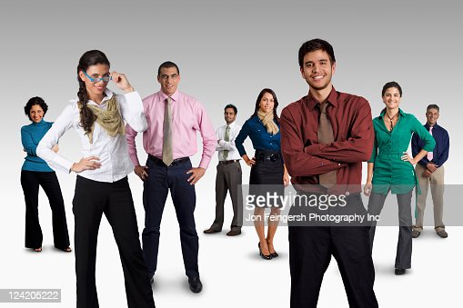 diverse business people standing together stock photo