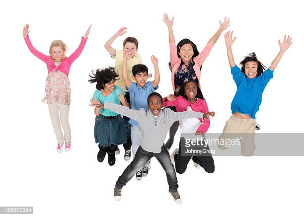 Diverse Group Of Children Jumping