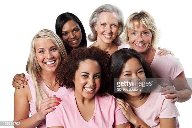 Diverse group of happy women in pink