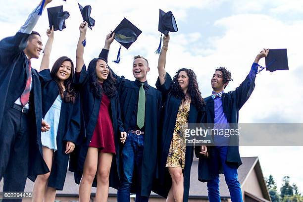 Diverse group of high school graduates