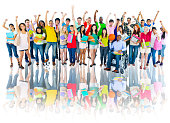 Diverse Group of High School Students with Arms Raised
