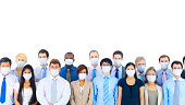 Diverse group of international business people wearing masks.
