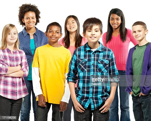 Diverse Group of Preteens - Isolated
