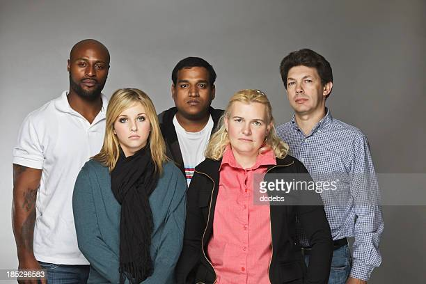 Diverse Group of  Unhappy People